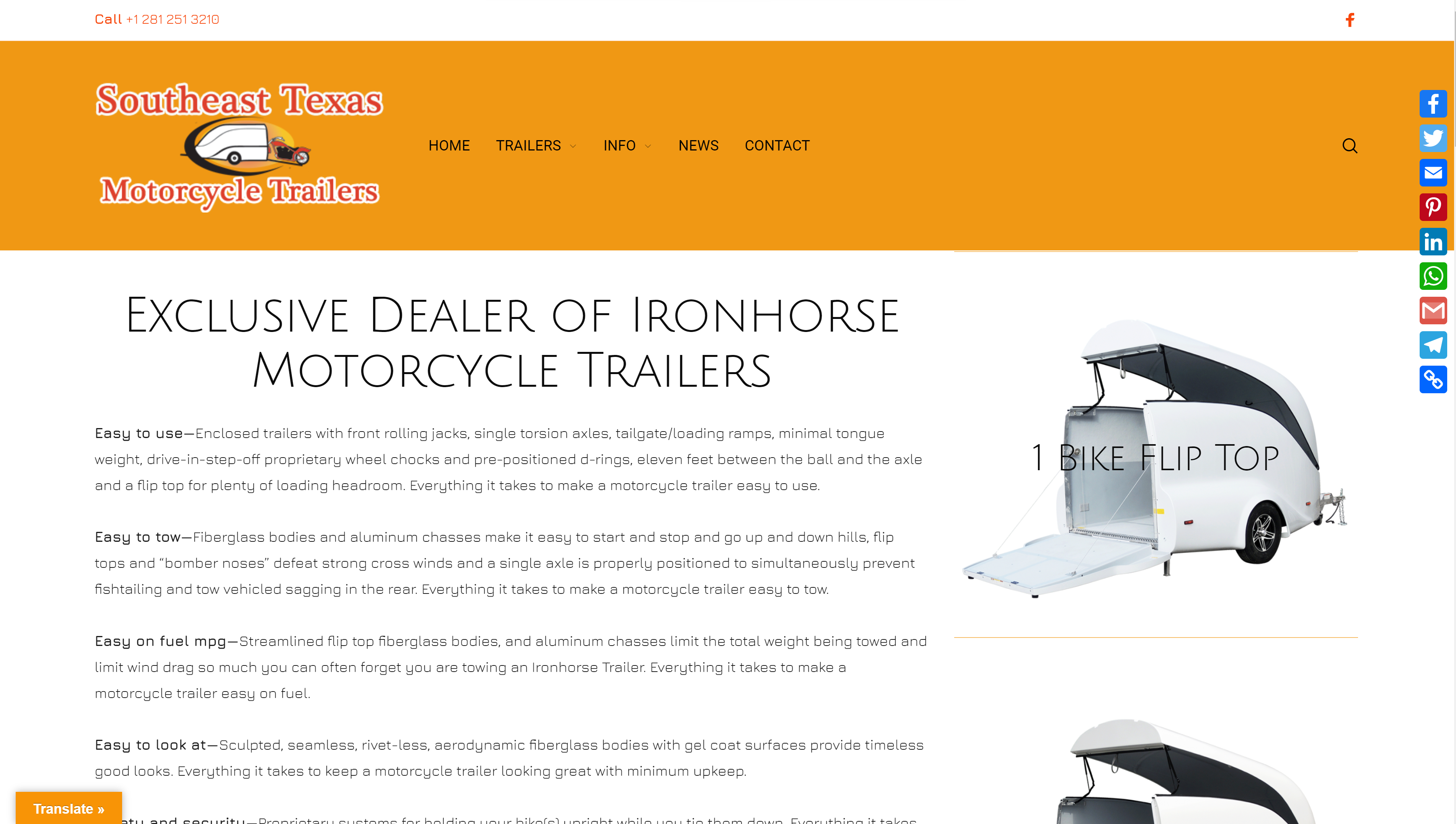 TrailersHouston, Southeast Texas Motorcycle Trailers, selling Ironhorse motorcycle trailers from Houston Texas